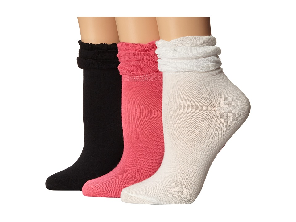 Betsey Johnson - Ruffle Shortie Sock 3-Pack (Black/Whitewash/Peony) Women's Low Cut Socks Shoes