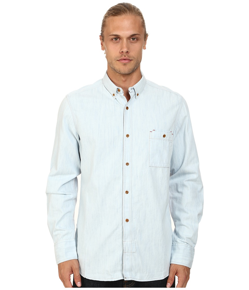 French Connection - Real Indigo + Jersey (Bleached) Men's Long Sleeve Button Up