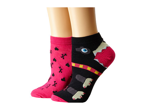 Betsey Johnson - Patterned Puppy Love No Show Sock 2-Pack (Multi/Black) Women