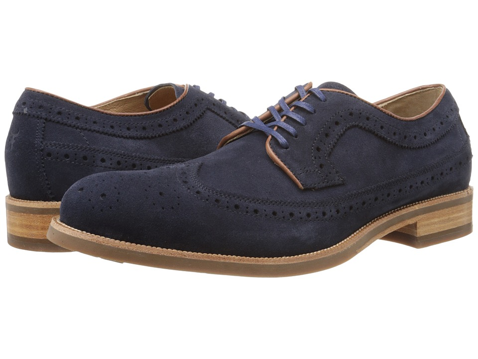 Trask - Fiske (Navy Water Resistant Suede) Men's Lace Up Wing Tip Shoes