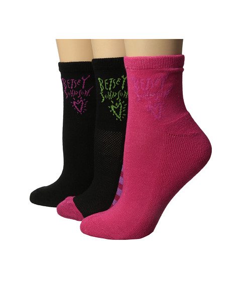 Betsey Johnson - Athletic Arch Support Quarter Crew Sock 3-Pack (Pink/Black) Women