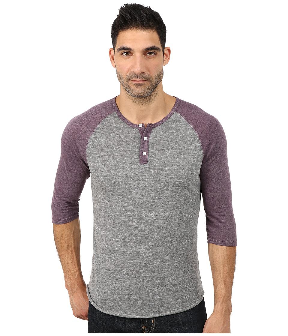 Alternative - 3/4 Raglan Henley (Eco True Purple Haze) Men's Long Sleeve Pullover