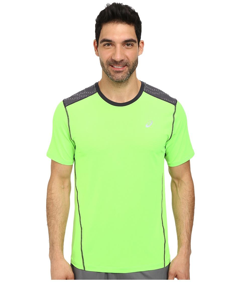 ASICS - PR Lyte Short Sleeve Top (Green Gecko/Steel Print) Men's Sleeveless