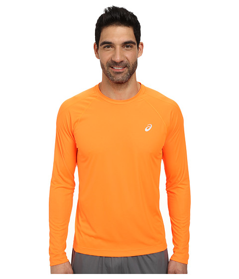 ASICS - Long Sleeve Crew (Shocking Orange) Men's Long Sleeve Pullover