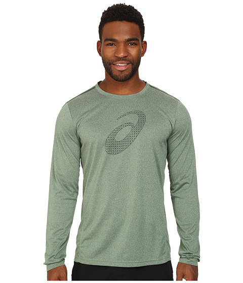 ASICS - Graphic Long Sleeve Tee (Oak Green Heather) Men's Long Sleeve Pullover