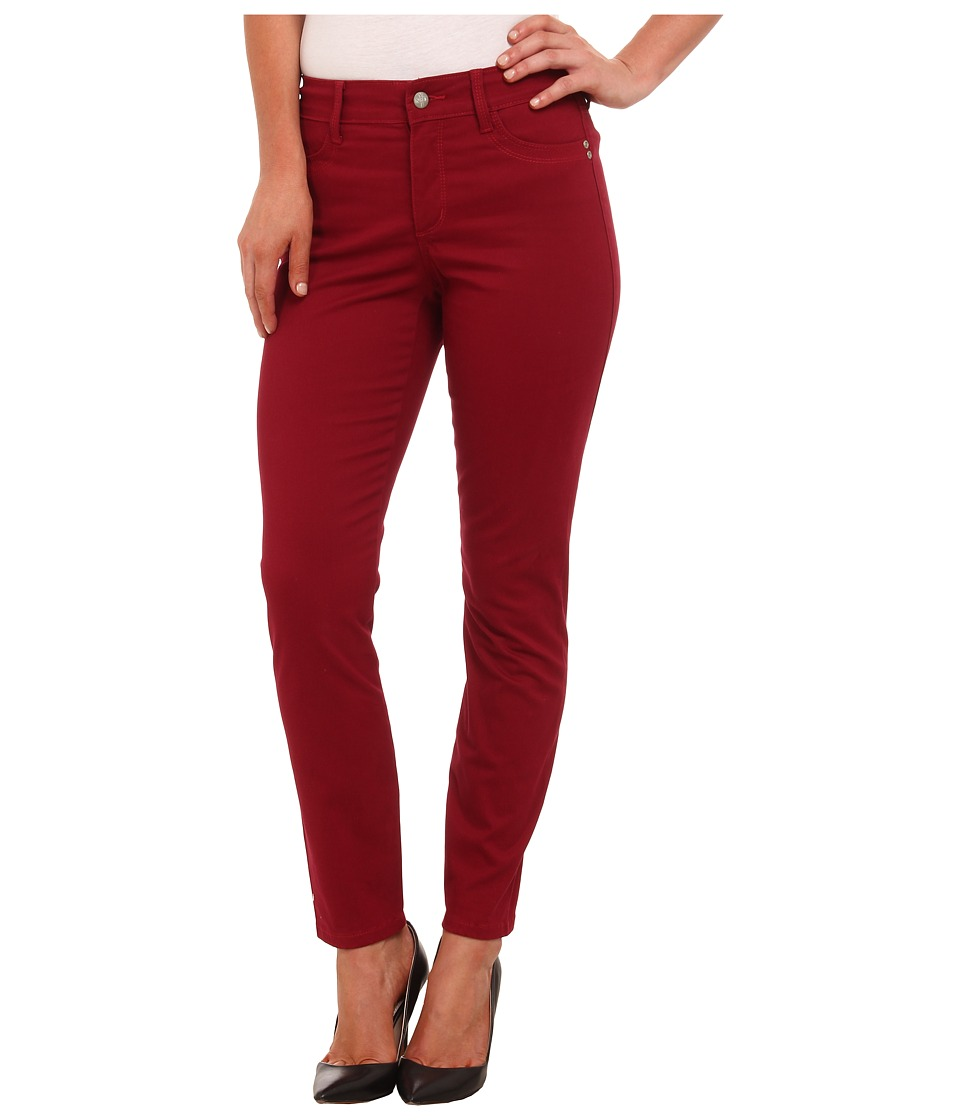 NYDJ - Adalaine Skinny Ankle Peached Sateen (Claret) Women's Casual Pants