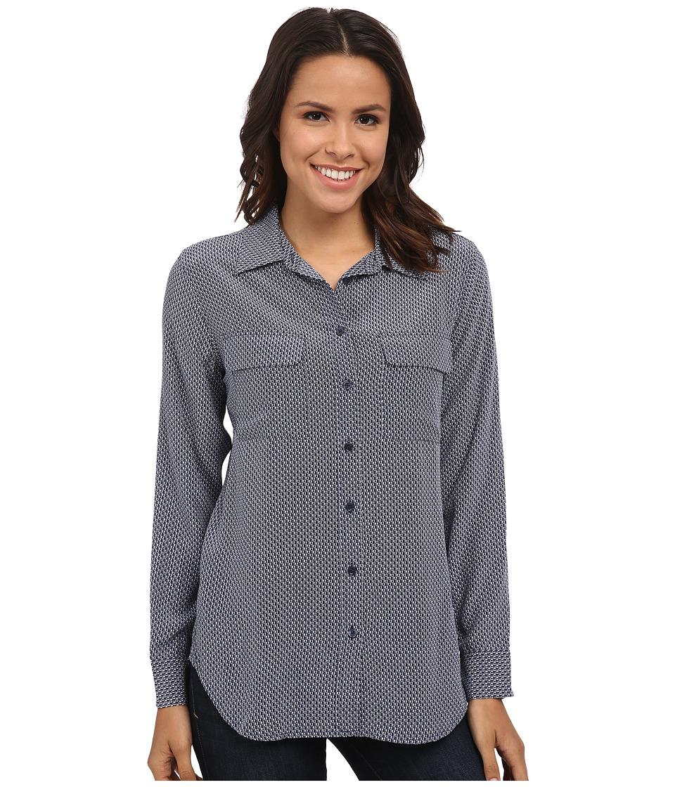 EQUIPMENT - Slim Signature (Peacoat) Women's Long Sleeve Button Up