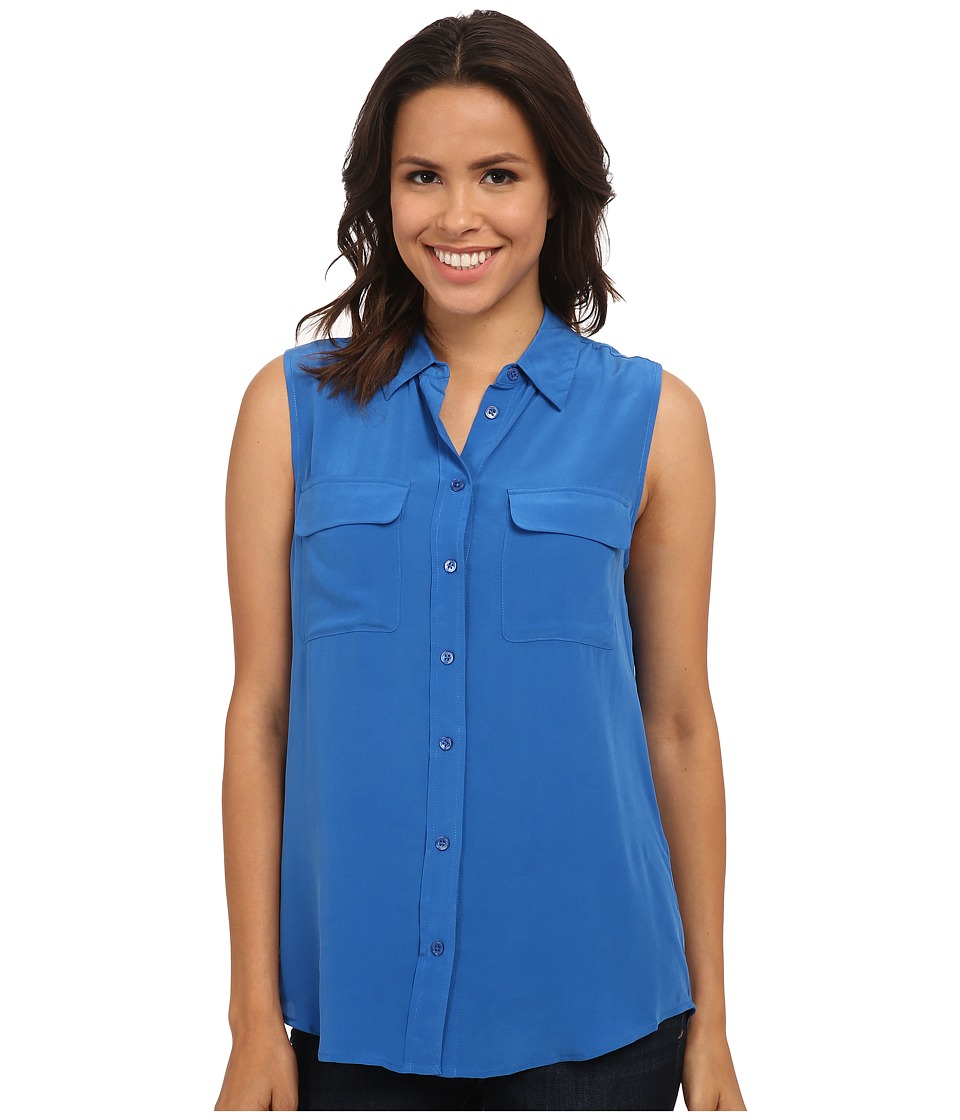 EQUIPMENT - Sleeveless Slim Signature Top (Classic Blue) Women's Sleeveless
