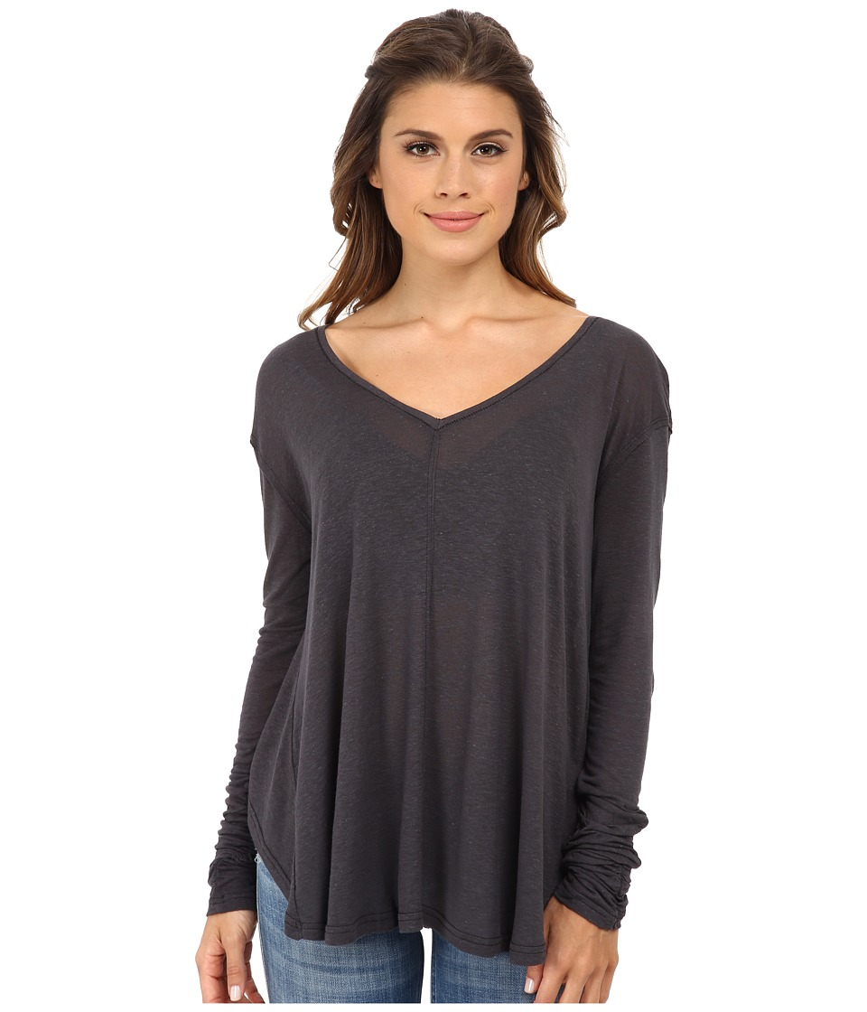 Free People - Solid Sahara Top (Charcoal) Women's Clothing