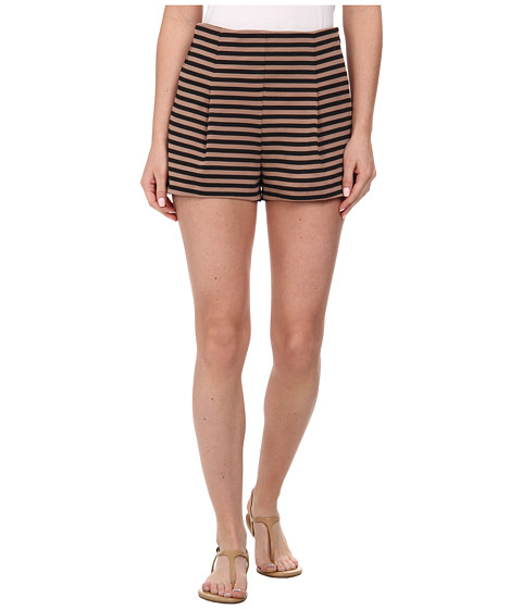 Free People - Striped Clean Shorts (Black/Taupe Combo) Women's Shorts