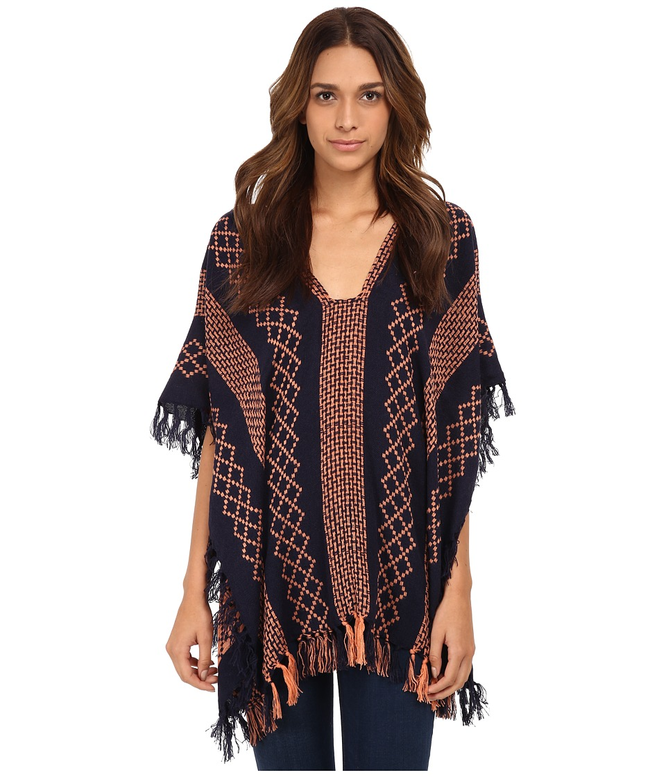 Free People - Weave Pattern Poncho (Navy Combo) Women's Coat