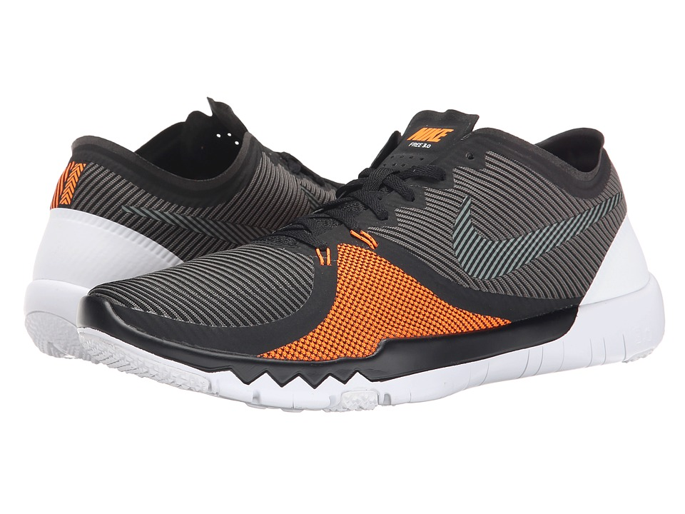 Nike - Free Trainer 3.0 V4 (Black/Black/Tumbled Grey/Total Orange) Men's Cross Training Shoes