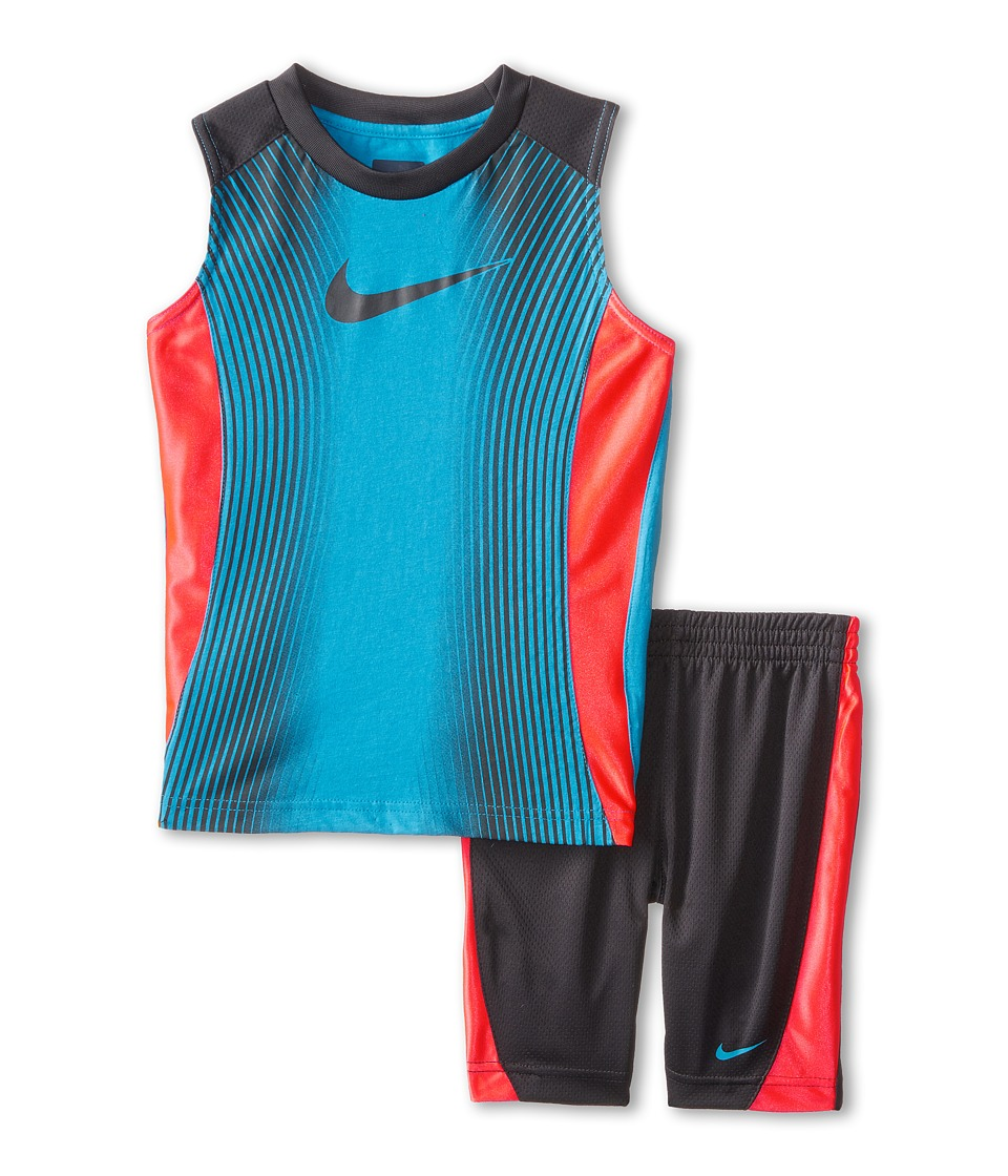 Nike Kids - Slide Cotton Sleeves Shorts Set (Little Kids) (Anthracite) Boy's Active Sets
