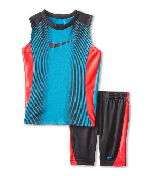 Nike Kids - Slide Cotton Sleeves Shorts Set (Little Kids) (Anthracite) Boy's Active Sets