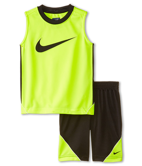 Nike Kids - Swoosh Poly Sleeves Shorts Set (Little Kids) (Black) Boy