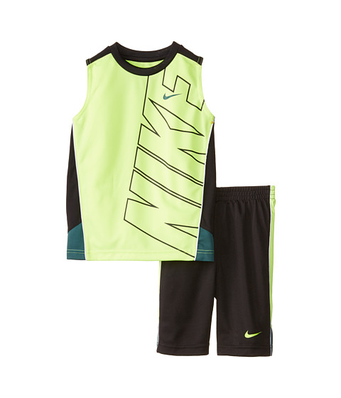 Nike Kids - Block Poly Sleeves Shorts Set (Little Kids) (Black) Boy's Active Sets