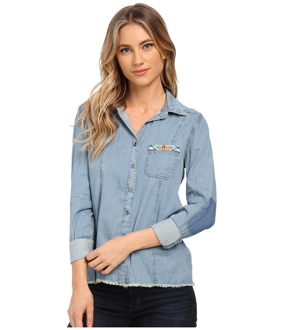 Billabong - Fade and Fly Long Sleeve Button Up (Vintage Chambray) Women's Long Sleeve Button Up