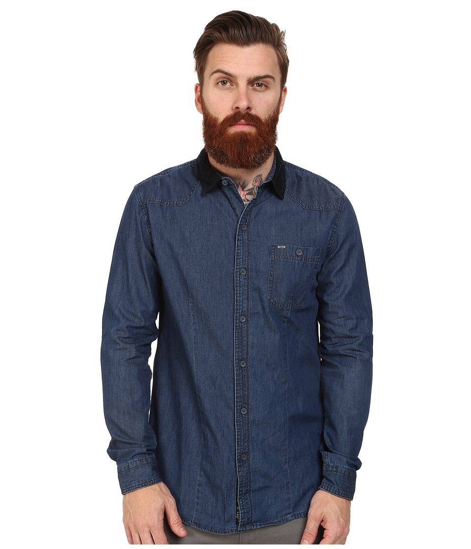 Mavi Jeans - Velvet Collar Denim Shirt (Blue) Men's Clothing