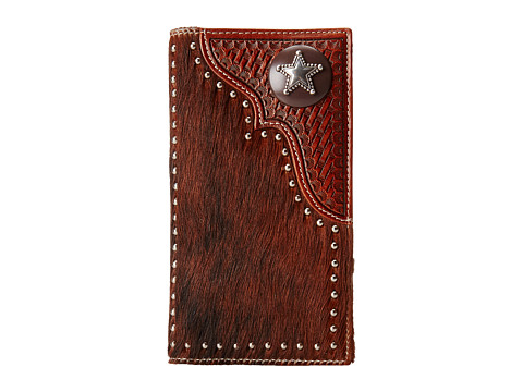 M&F Western - Star Concho Calf Hair Rodeo Wallet (Brown) Wallet Handbags