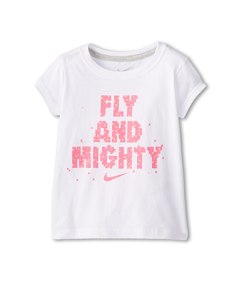 Nike Kids - Fly and Mighty Short Sleeve Tee (Toddler) (White) Girl's T Shirt