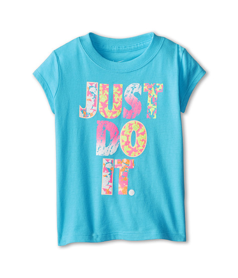 Nike Kids - Just Do It Print Party Short Sleeve Tee (Toddler) (Clearwater) Girl