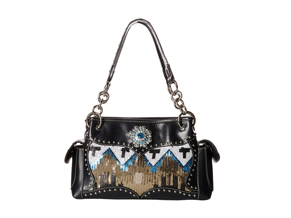 M&F Western - Sequin Chevron Shoulder Bag Satchel (Black) Satchel Handbags