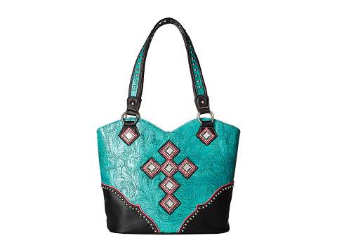 M&F Western - Mirror Concho Cross Boottop Handbag (Turquoise) Handbags