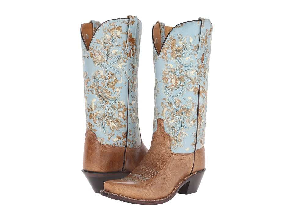 Old West Boots - LF1542 (Tan Fry/Turquoise) Cowboy Boots