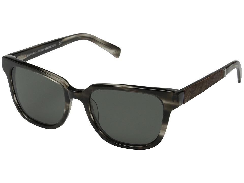 Shwood - Prescott Fifty-Fifty - Polarized (Pearl Grey/Elm Burl/Grey Polarized) Fashion Sunglasses
