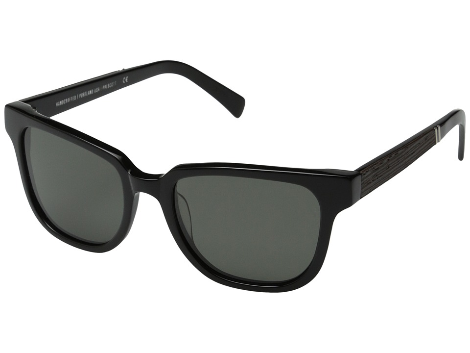Shwood - Prescott Fifty-Fifty - Polarized (Black/Ebony/Grey Polarized) Fashion Sunglasses
