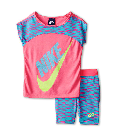 Nike Kids - Varigated Dot Dolman Short Sleeve Bike Shorts Set (Little Kids) (Clearwater) Girl's Active Sets