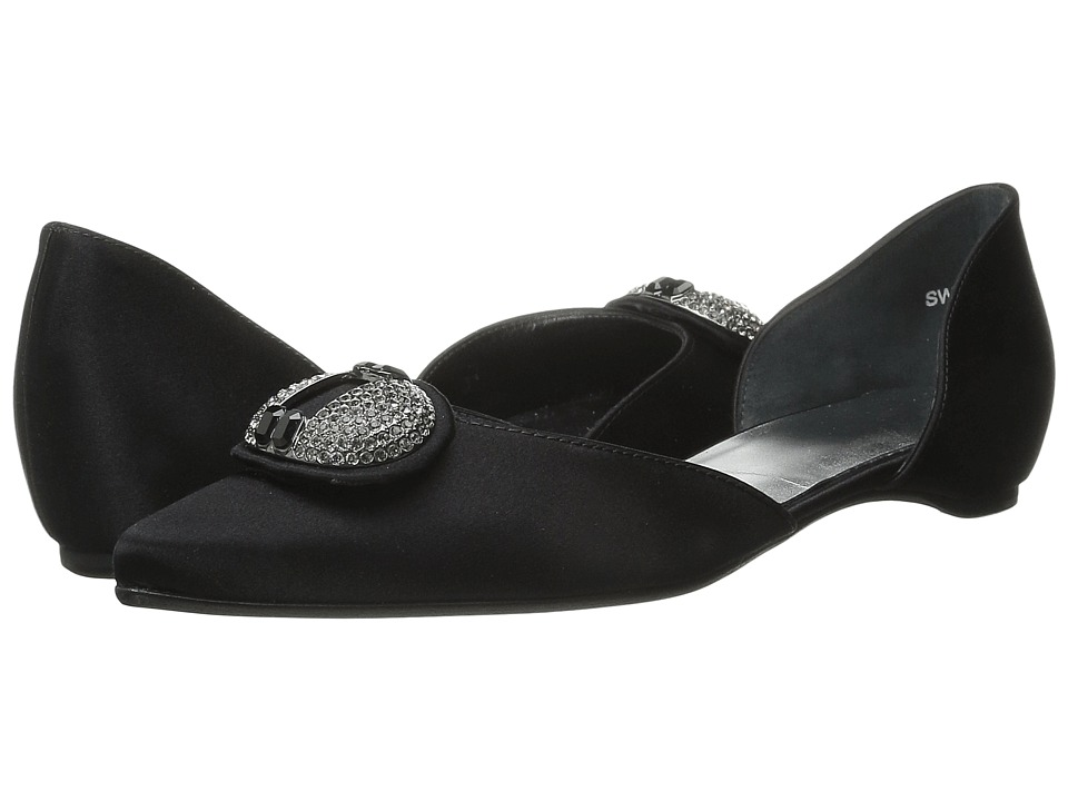 Stuart Weitzman Bridal & Evening Collection - Dome (Black Satin) Women's Dress Flat Shoes