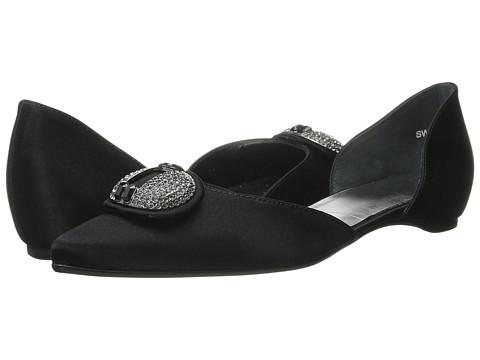 Stuart Weitzman Bridal & Evening Collection - Dome (Black Satin) Women's Dress Flat Shoes
