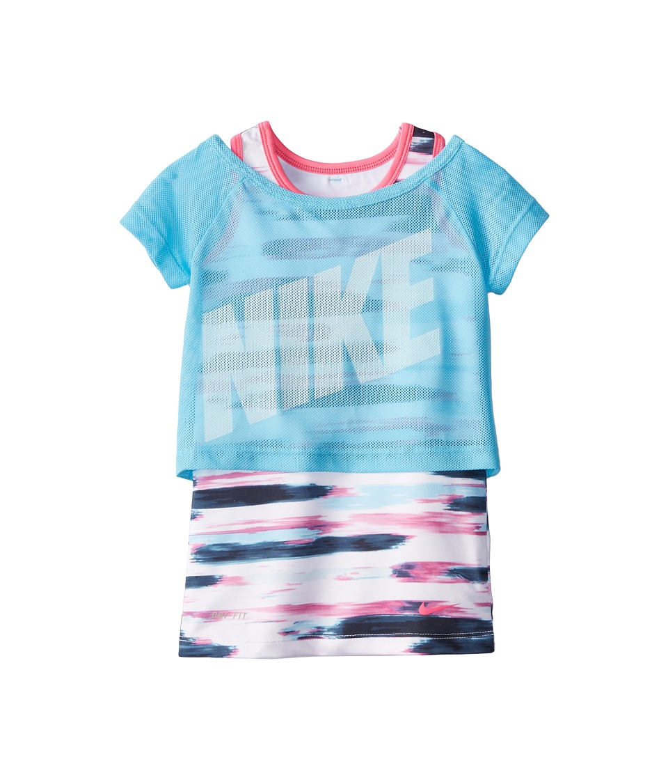 Nike Kids - Dri-Fit Sports Essentials 2-in-1 Short Sleeve Top (Little Kids) (White/Clearwater) Girl's Short Sleeve Pullover