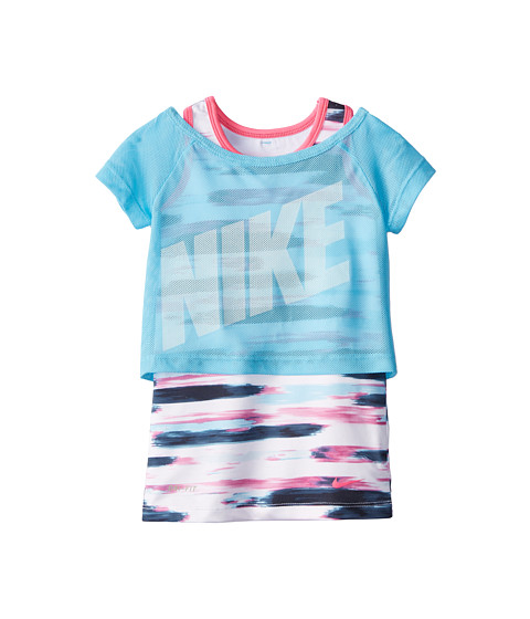 Nike Kids - Dri-Fit Sports Essentials 2-in-1 Short Sleeve Top (Little Kids) (White/Clearwater) Girl