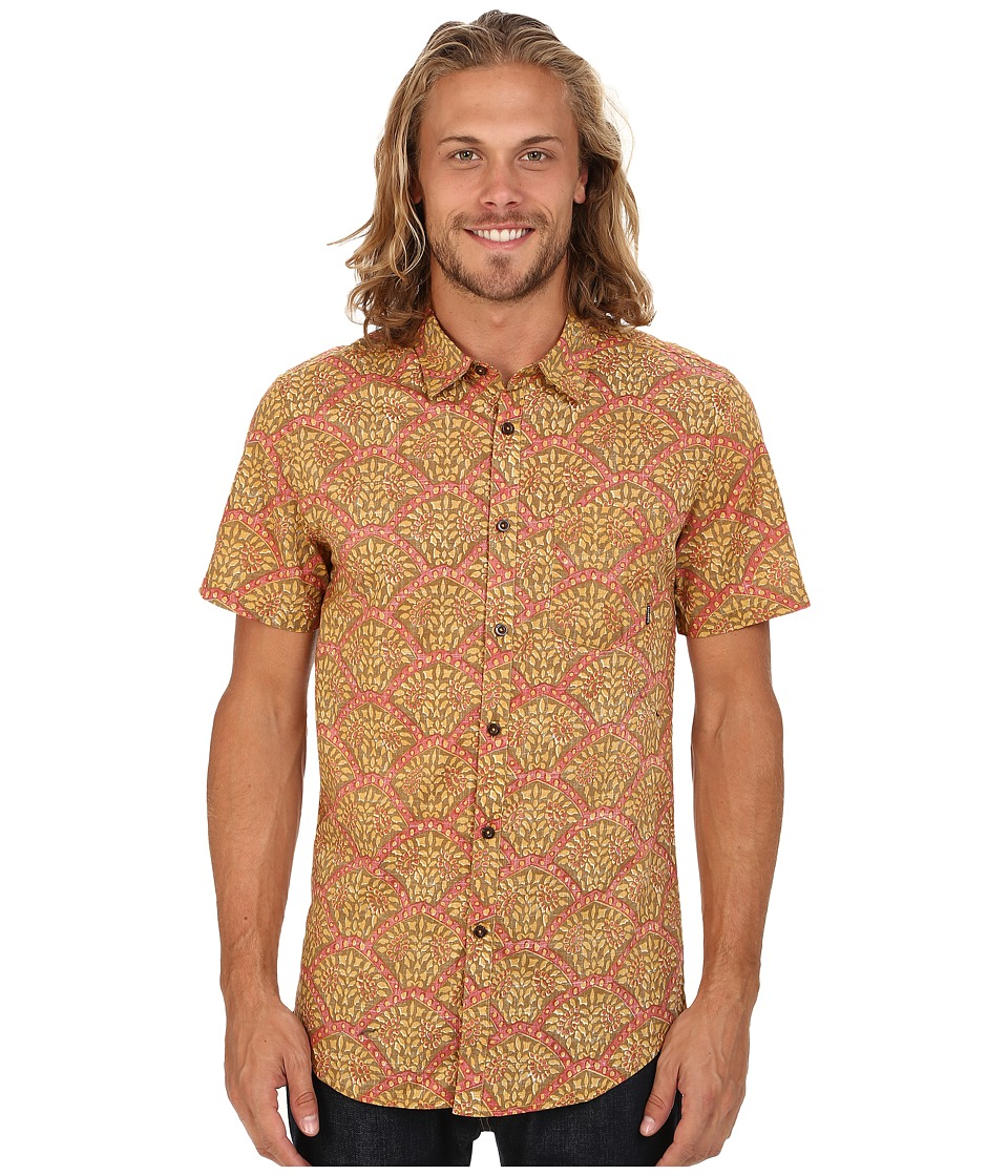 Billabong - Indo Short Sleeve Button Up Shirt (Camel) Men's Short Sleeve Button Up