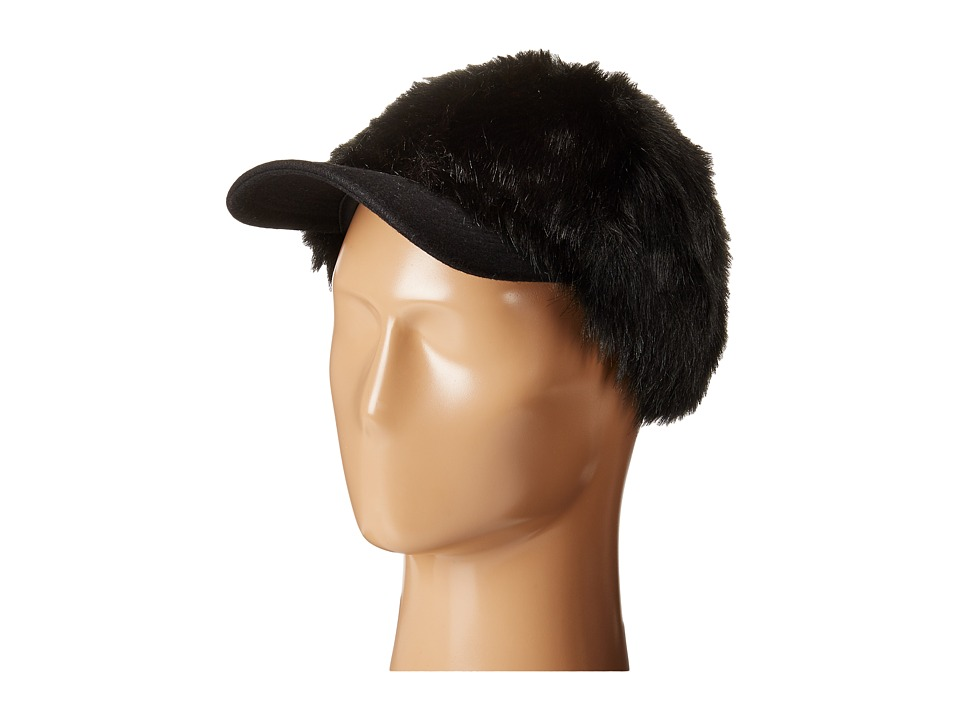 BCBGMAXAZRIA - Faux Fur Baseball Cap (Black) Caps