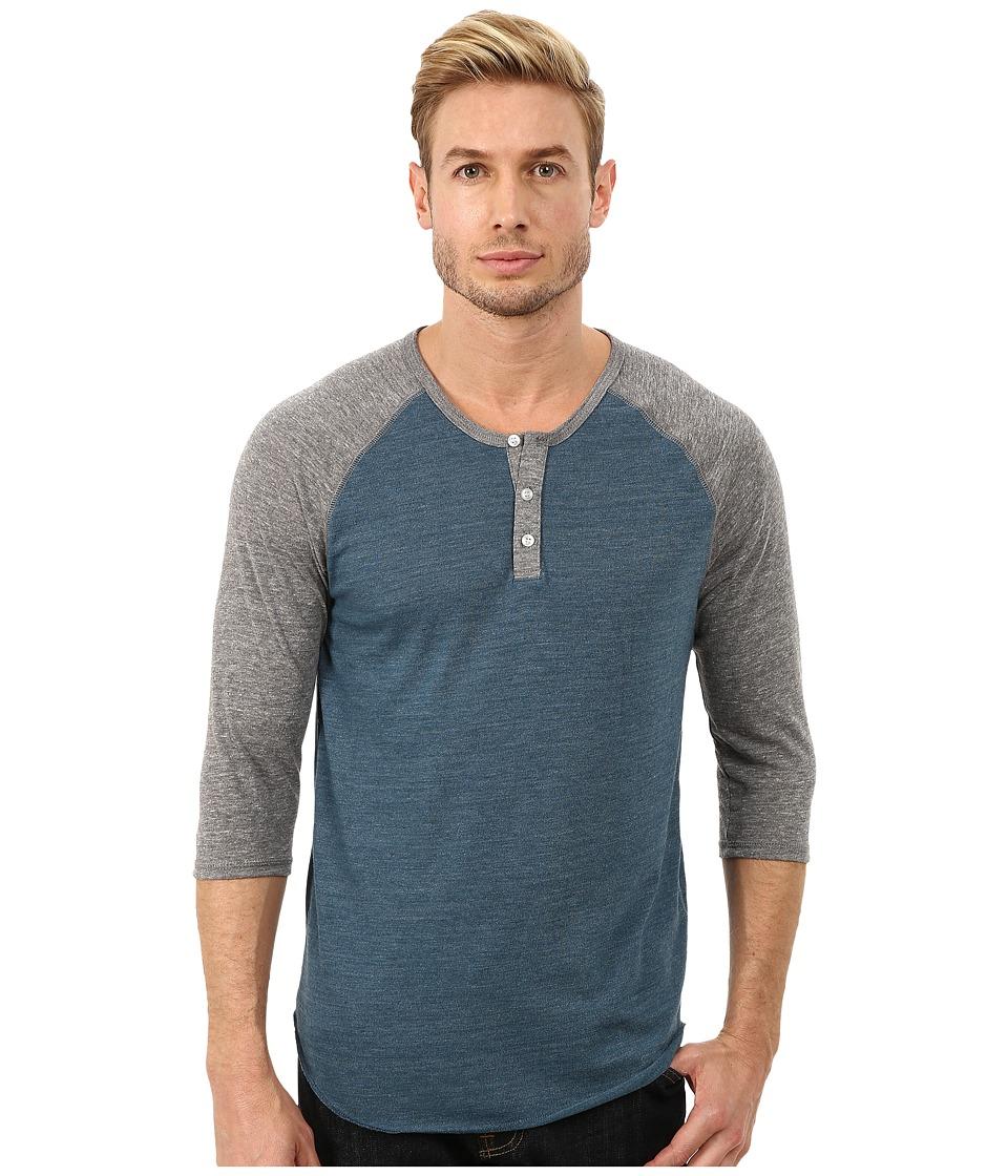 Alternative - 3/4 Raglan Henley (Eco True Mineral Blue) Men's Long Sleeve Pullover