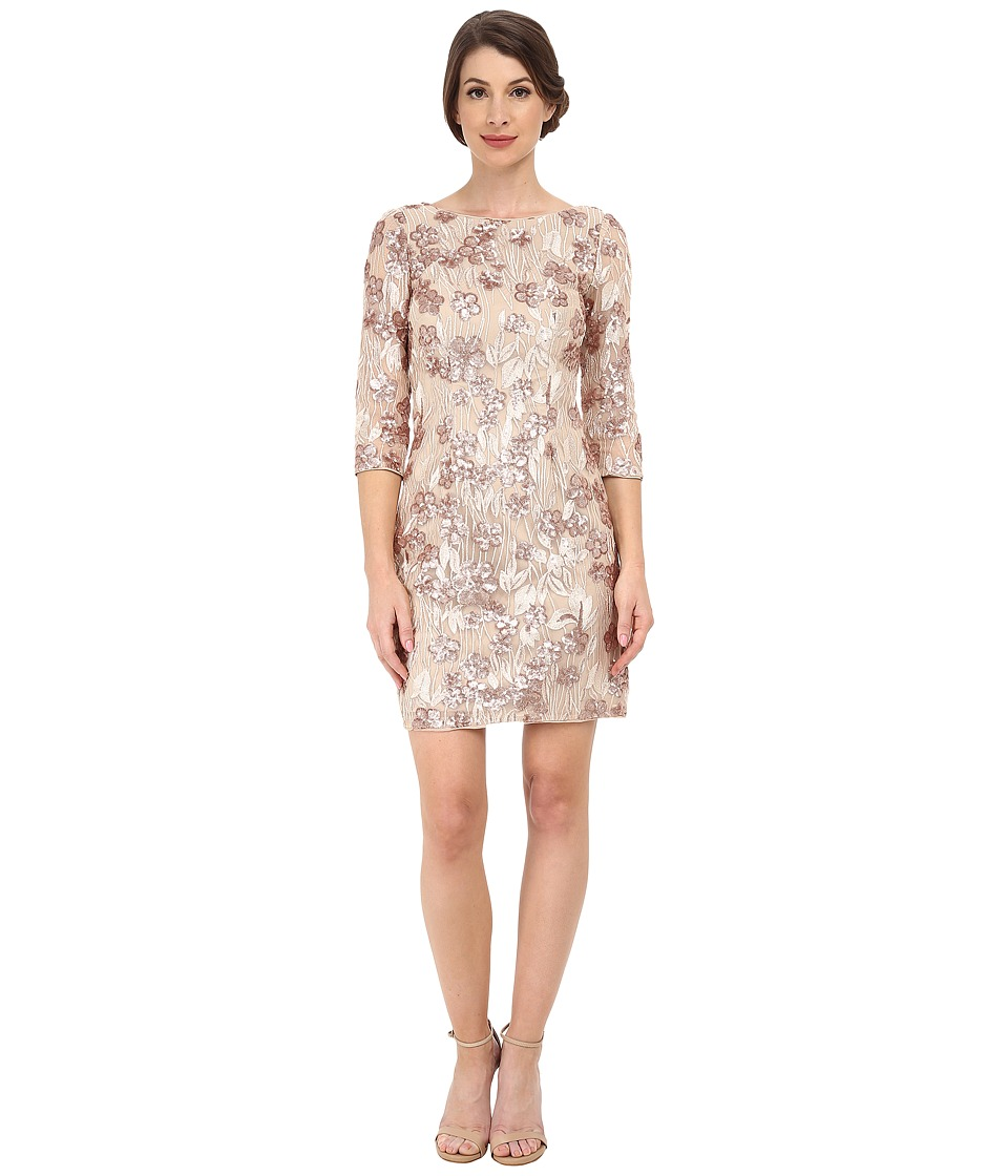 Aidan Mattox Long Sleeve Beaded Lace Cocktail Dress (Champagne) Women