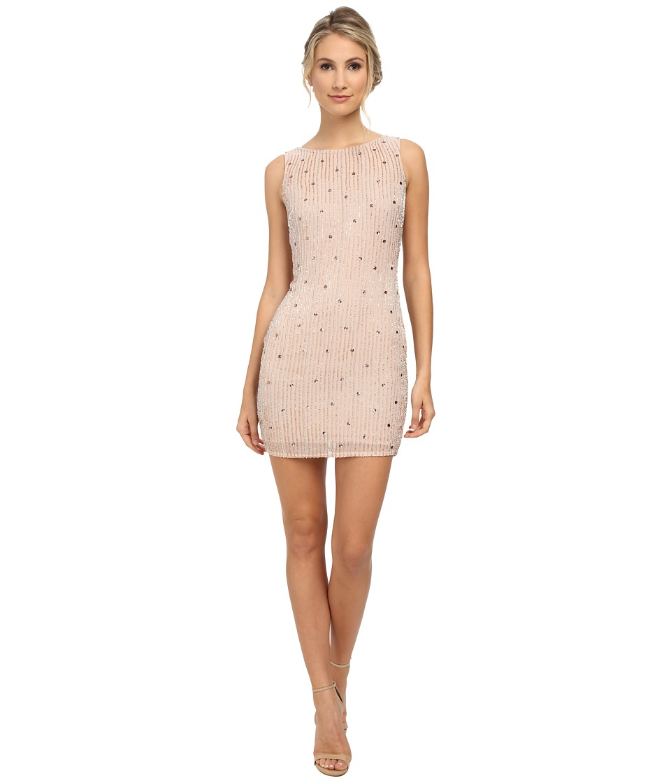 Aidan Mattox Sleeveless Beaded Sheath Cocktail Dress (Blush) Women