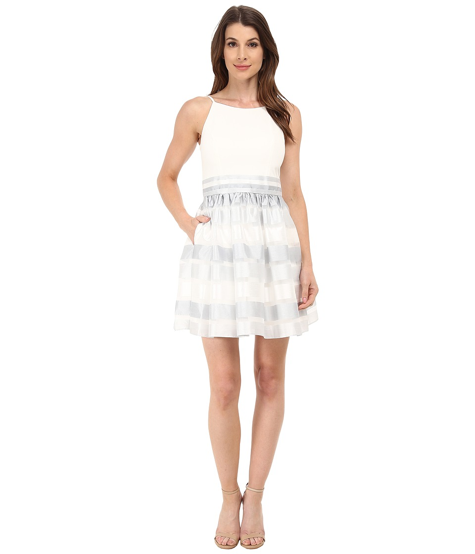 Aidan Mattox - Striped Organza Party Dress w/ Knit Top (Silver Multi) Women's Dress