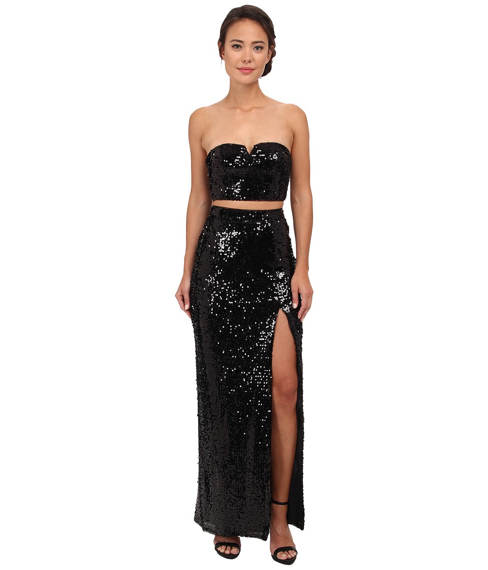 Aidan Mattox Strapless Sequin Crop Top Gown (Black) Women