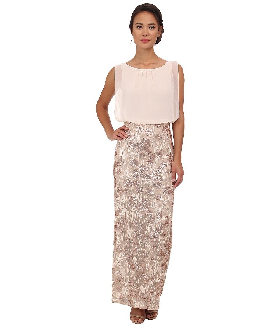 Aidan Mattox - Long Blouson Gown w/ Beaded Lace Skirt (Champagne) Women's Dress