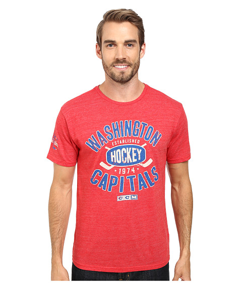 Reebok - Washington Capitals Crossed Puck Distressed Premium Tee (Red/Heather Red) Men