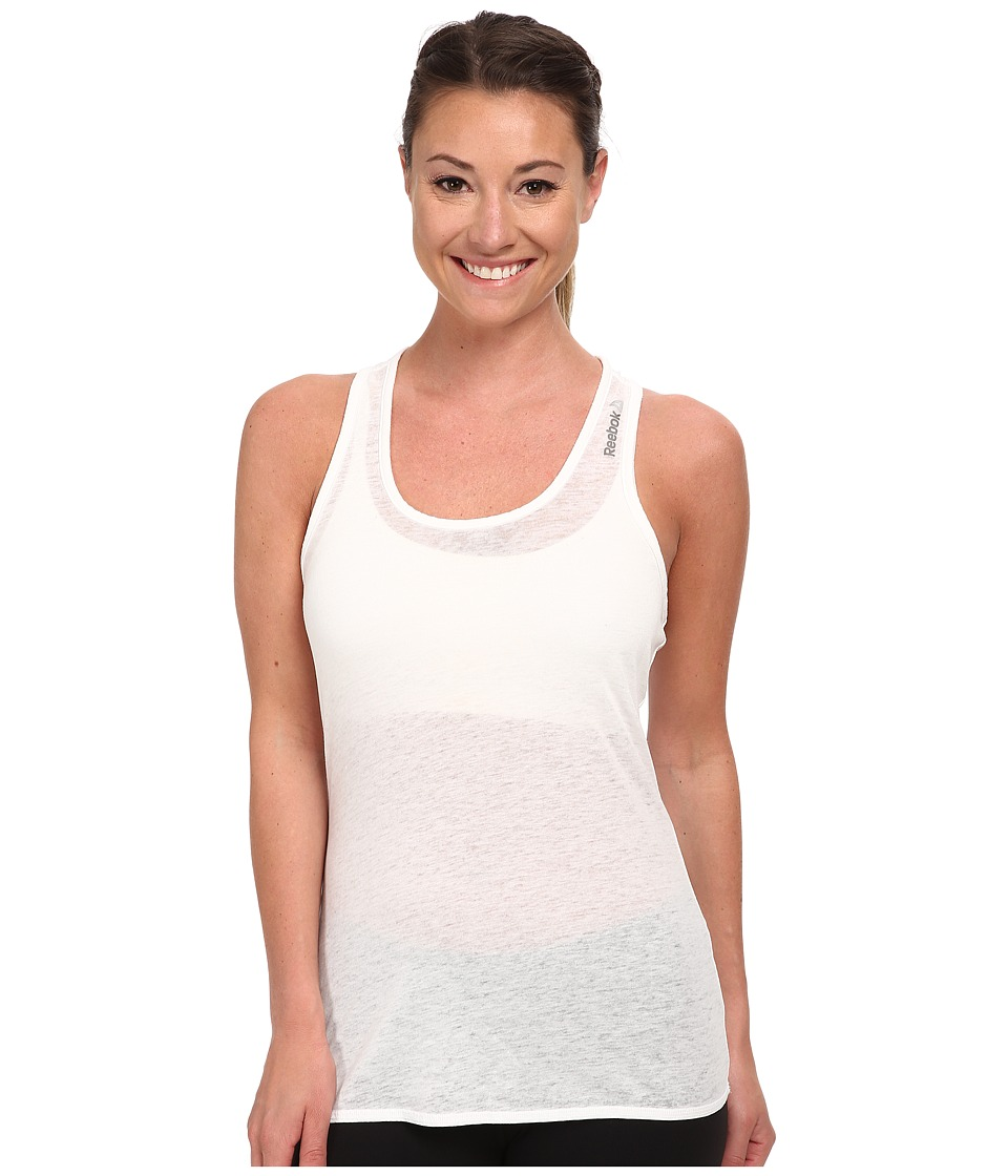 Reebok - Studio Burnout Tank Top (White) Women's Sleeveless