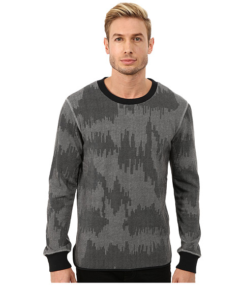 Alternative - Light French Terry Inlet Crew Neck (Heather Grey Patchwork) Men's Long Sleeve Pullover