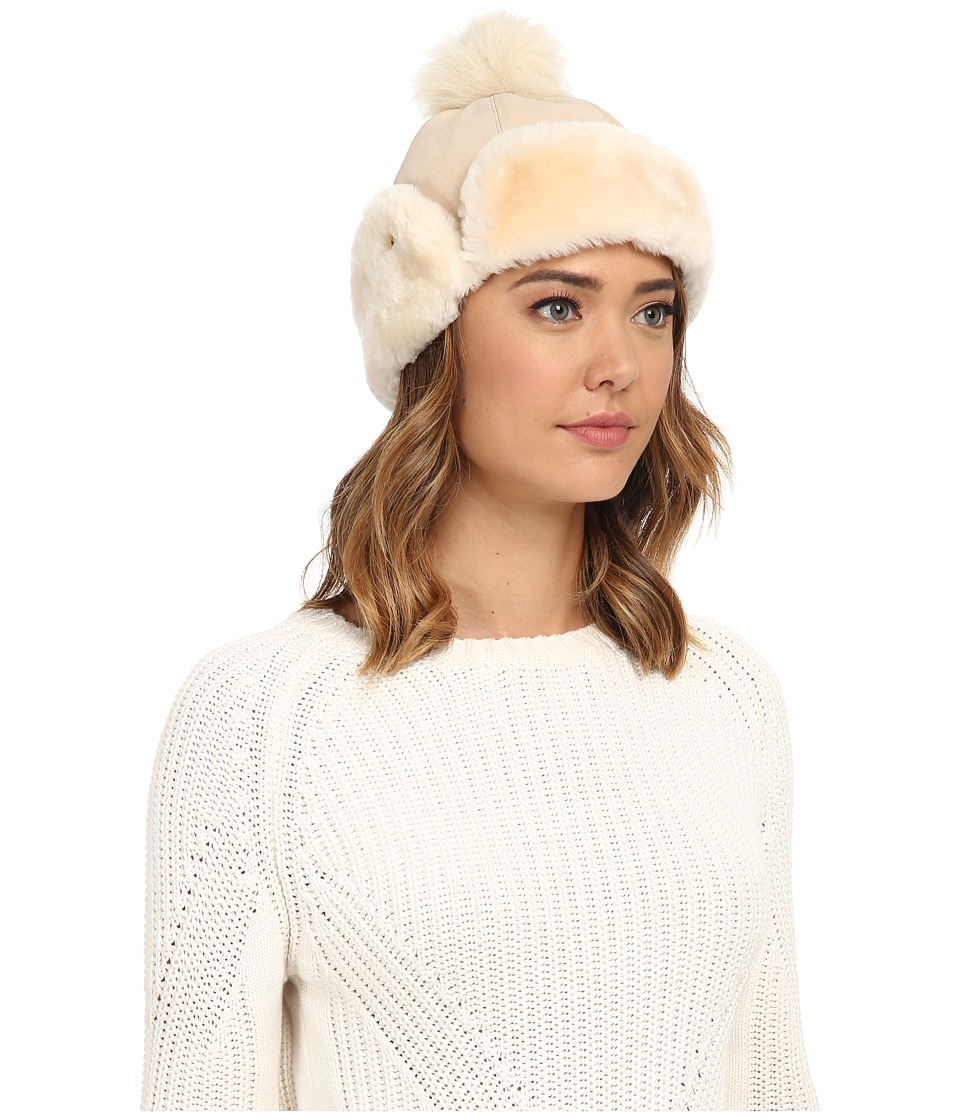 UGG - Heritage Up Flap Hat w/ Pom (Fresh Snow) Traditional Hats