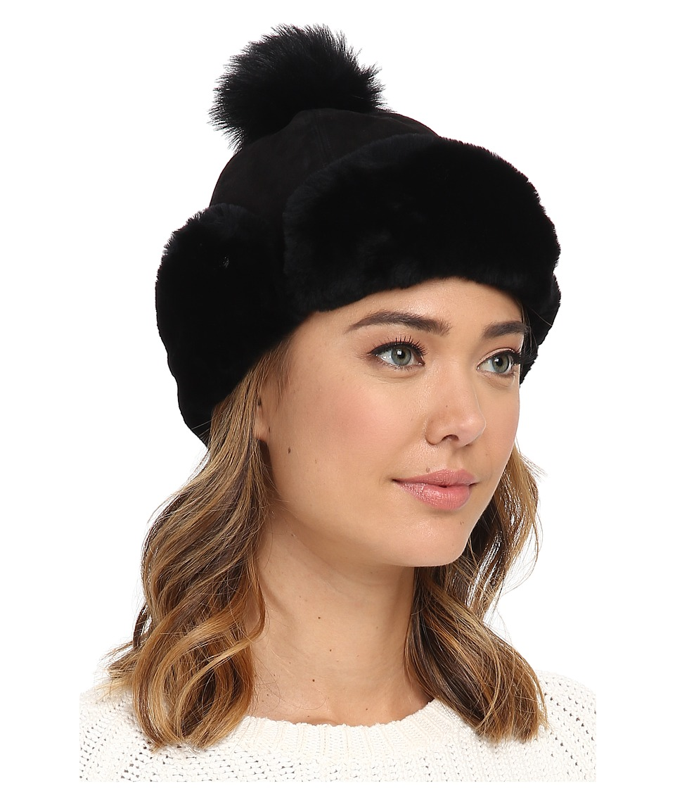 UGG - Heritage Up Flap Hat w/ Pom (Black) Traditional Hats