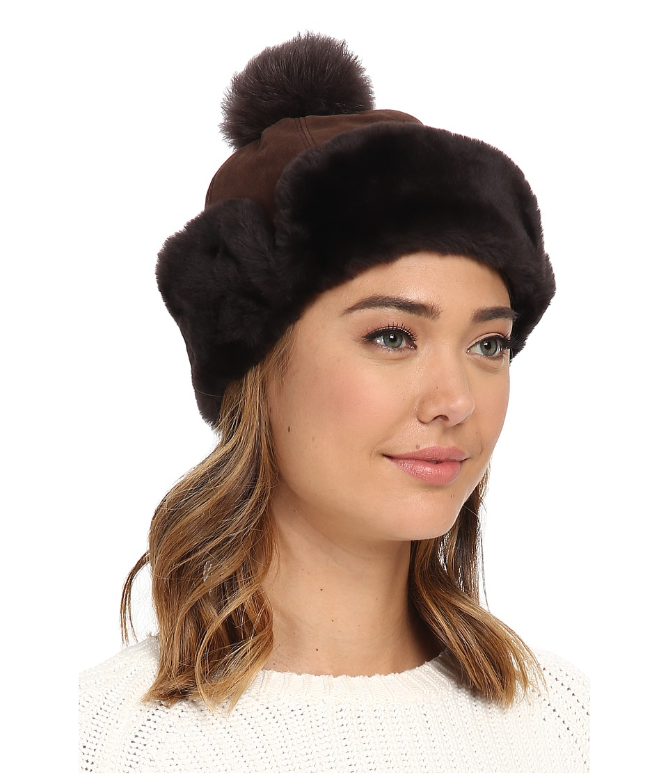UGG - Heritage Up Flap Hat w/ Pom (Chocolate) Traditional Hats