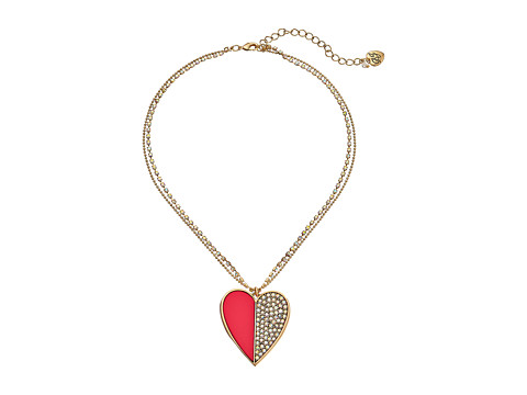 Betsey Johnson - Casino Royale Crystal Heart Pendant Necklace (Pink/Crystal) Necklace